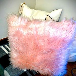 Pink Furry Decor Pillow